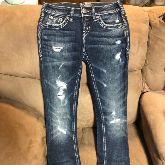 Silver Jeans Suki Mid Slim Boot Women/'s 25 W x 33 L Curvy Fit Thick Stitch NWT